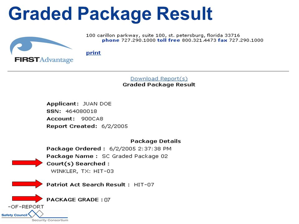 Graded Package Result