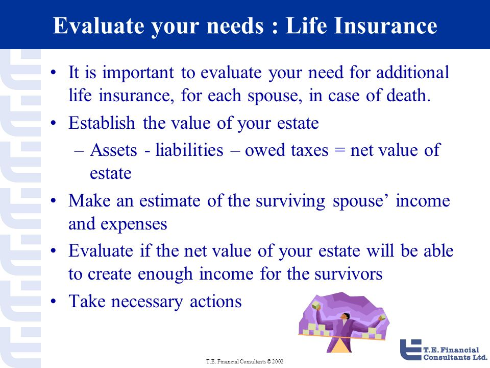 T.E. Financial Consultants © 2002 Evaluate your needs : Life Insurance It is important to evaluate your need for additional life insurance, for each s