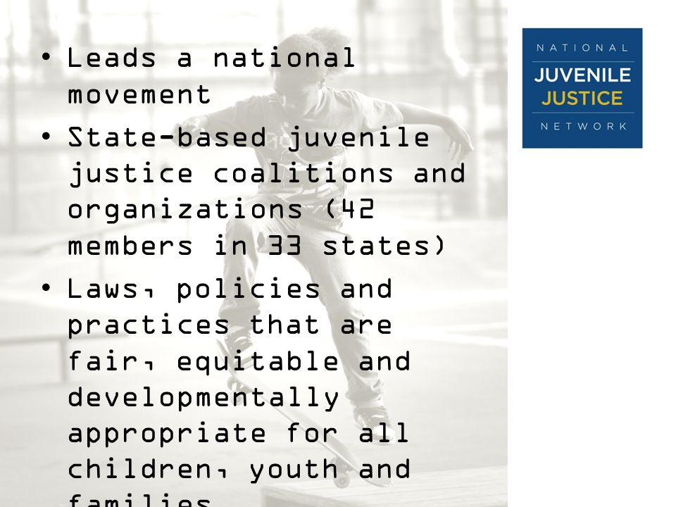 Leads a national movement State-based juvenile justice coalitions and organizations (42 members in 33 states) Laws, policies and practices that are fair, equitable and developmentally appropriate for all children, youth and families