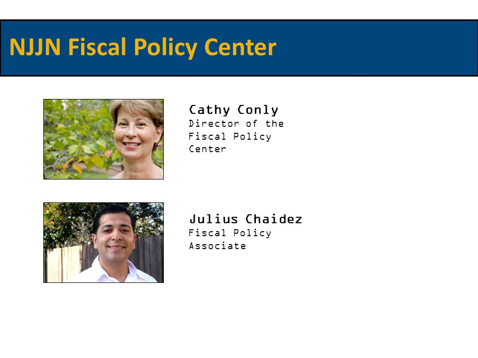 Cathy Conly Director of the Fiscal Policy Center Julius Chaidez Fiscal Policy Associate NJJN Fiscal Policy Center