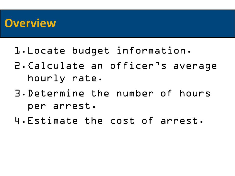 1.Locate budget information. 2.Calculate an officer's average hourly rate.