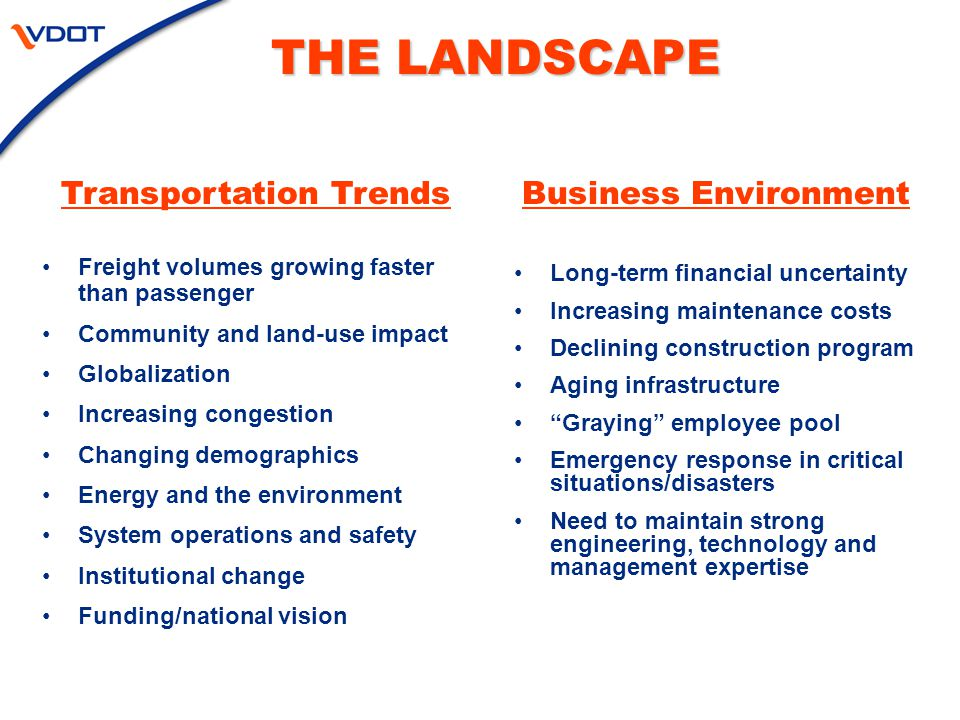 Business Environment Long-term financial uncertainty Increasing maintenance costs Declining construction program Aging infrastructure Graying employee pool Emergency response in critical situations/disasters Need to maintain strong engineering, technology and management expertise THE LANDSCAPE Transportation Trends Freight volumes growing faster than passenger Community and land-use impact Globalization Increasing congestion Changing demographics Energy and the environment System operations and safety Institutional change Funding/national vision