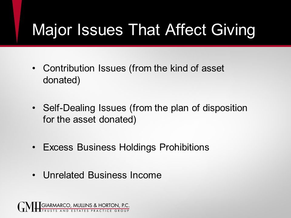 Major Issues That Affect Giving Contribution Issues (from the kind of asset donated) Self-Dealing Issues (from the plan of disposition for the asset donated) Excess Business Holdings Prohibitions Unrelated Business Income