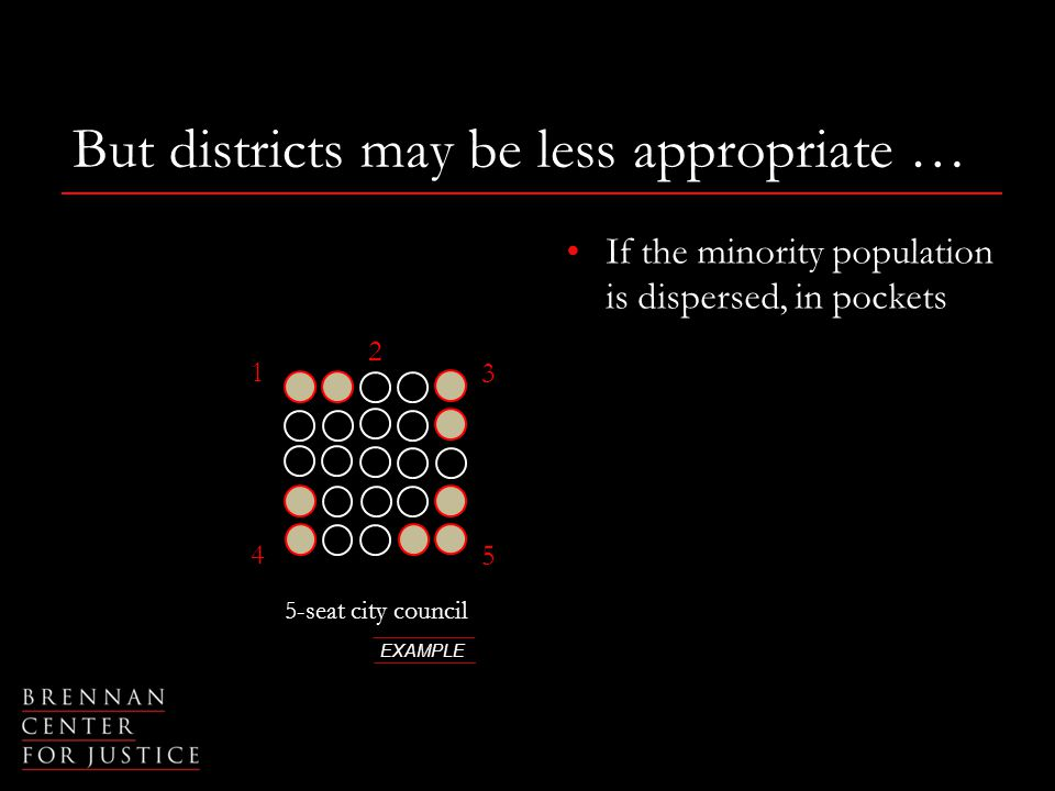 But districts may be less appropriate … 5-seat city council EXAMPLE 1 2 3 4 5 If the minority population is dispersed, in pockets