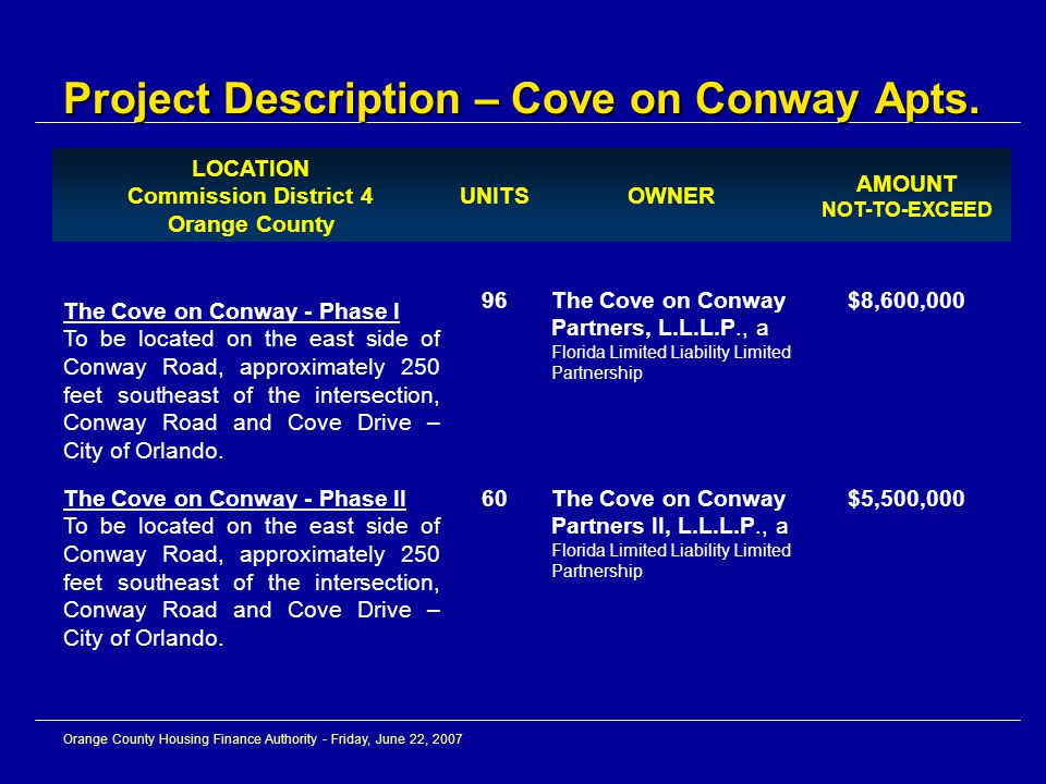 Orange County Housing Finance Authority - Friday, June 22, 2007 LOCATION Commission District 4 Orange County UNITSOWNER AMOUNT NOT-TO-EXCEED The Cove on Conway - Phase I To be located on the east side of Conway Road, approximately 250 feet southeast of the intersection, Conway Road and Cove Drive – City of Orlando.