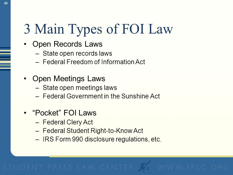 Freedom of Information Law Ensuring your right of access to public records and meetings