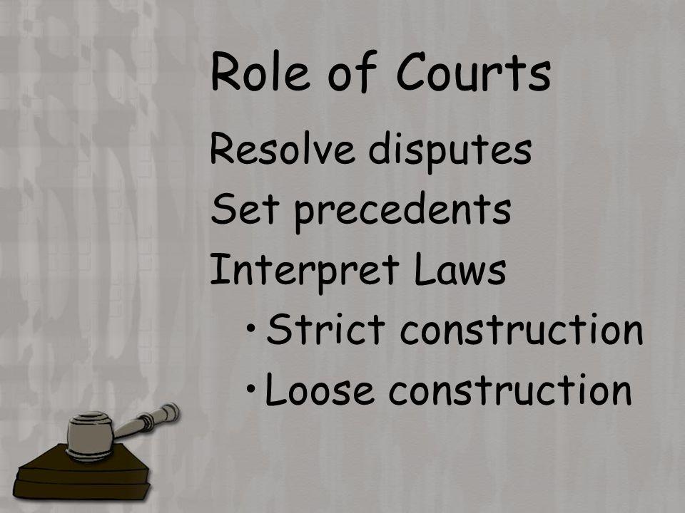 Role of Courts Resolve disputes Set precedents Interpret Laws Strict construction Loose construction