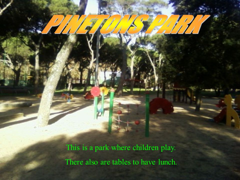 This is a park where children play. There also are tables to have lunch.