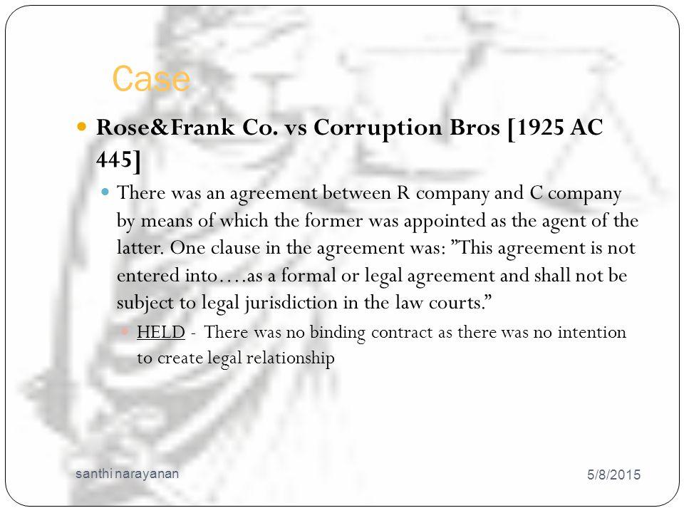 Case 5/8/2015 santhi narayanan 14 Rose&Frank Co.