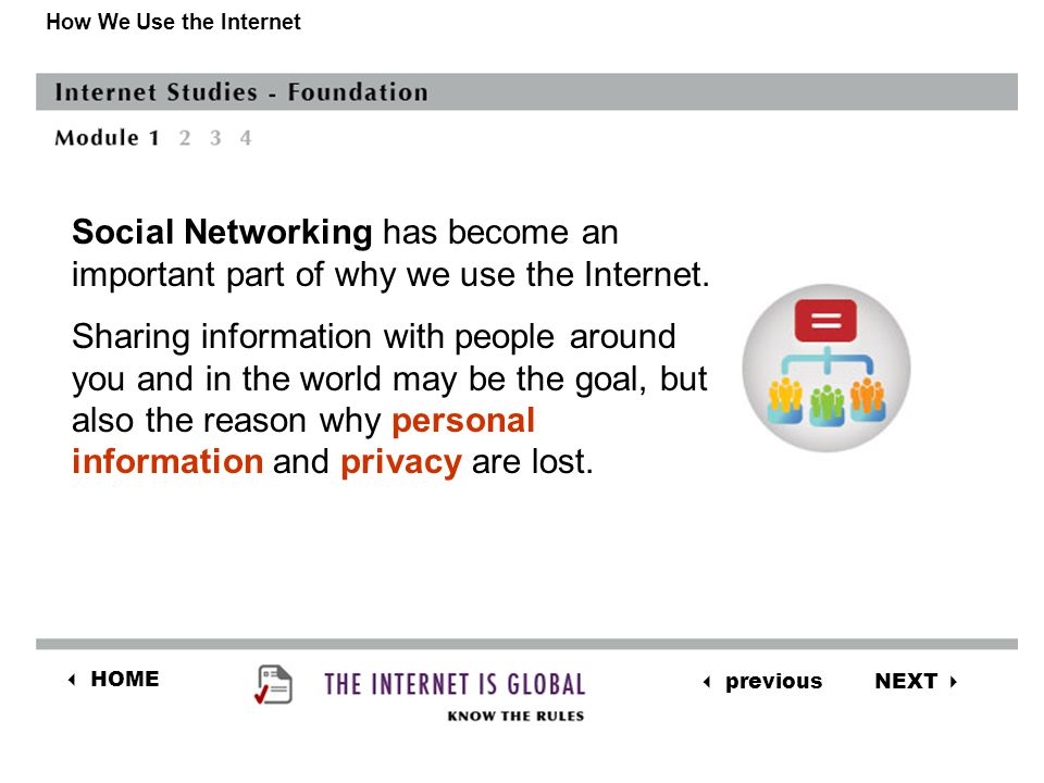 NEXT  previous  HOME How We Use the Internet Social Networking has become an important part of why we use the Internet.