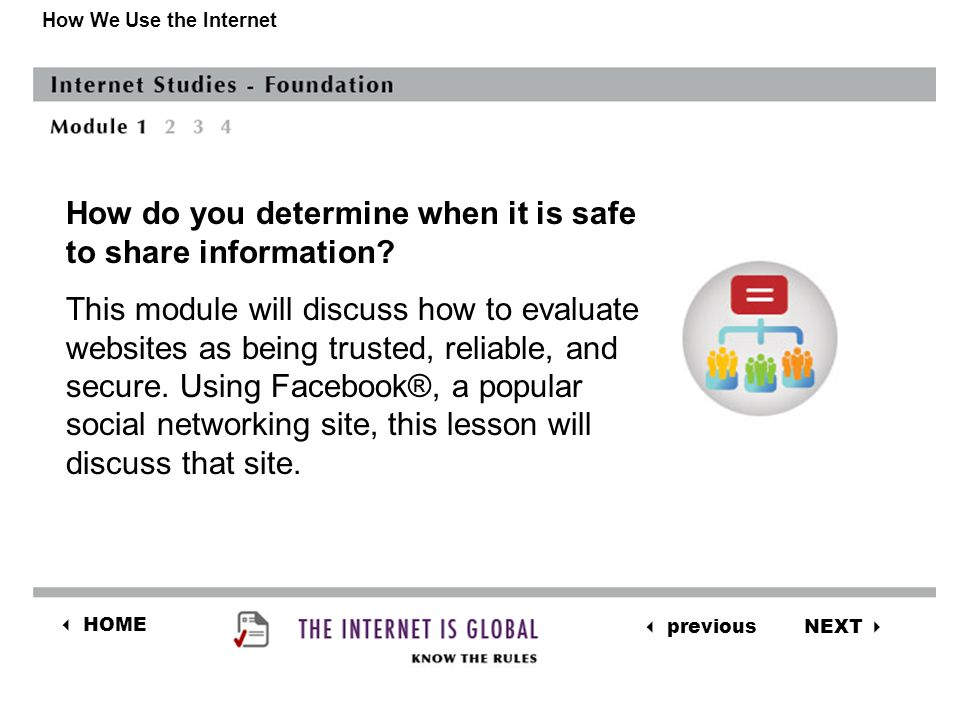 NEXT  previous  HOME How We Use the Internet How do you determine when it is safe to share information.