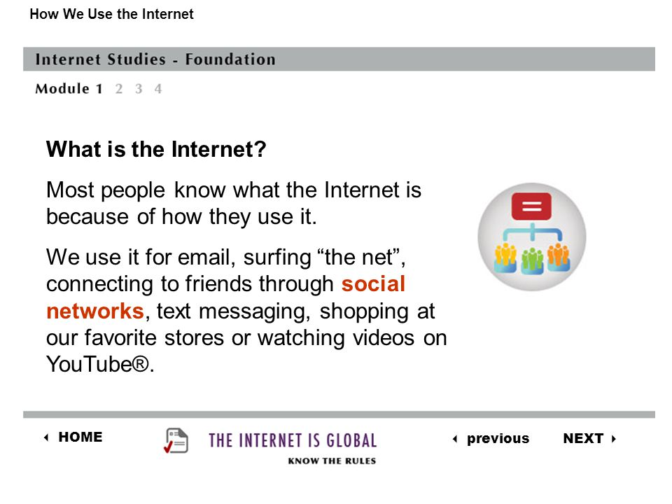 NEXT  previous  HOME How We Use the Internet How do you determine when it is safe to share information.