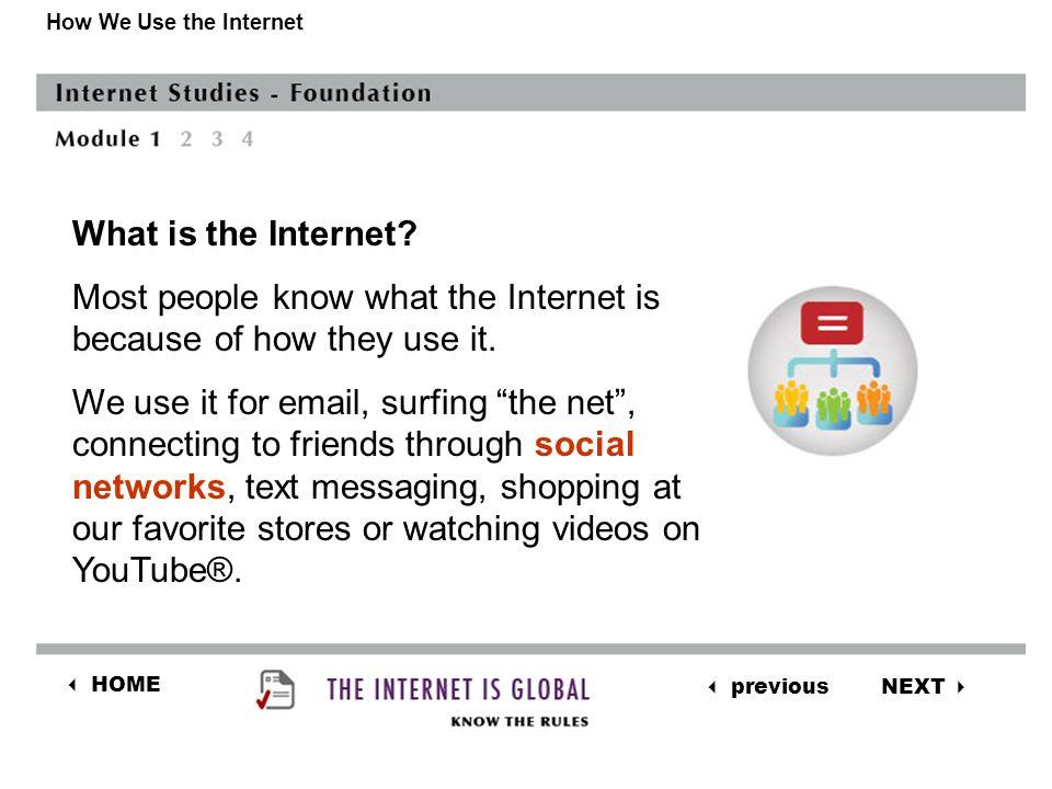 NEXT  previous  HOME The World Wide Web The World Wide Web is not the Internet While the Internet and the World Wide Web are not the same, they are described as the same.