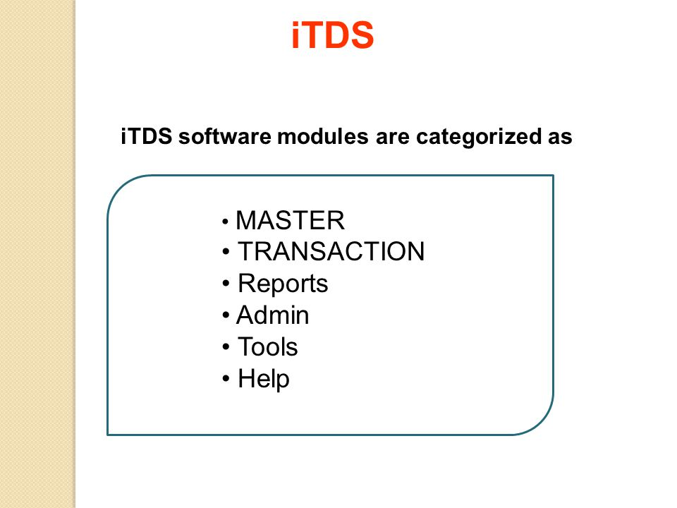 iTDS software modules are categorized as MASTER TRANSACTION Reports Admin Tools Help iTDS