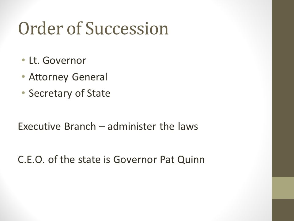 Order of Succession Lt. Governor Attorney General Secretary of State Executive Branch – administer the laws C.E.O. of the state is Governor Pat Quinn
