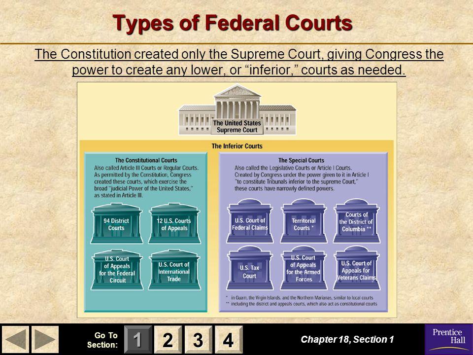 123 Go To Section: 4 The Special Courts S E C T I O N 4 The Special Courts How can citizens sue the government in the U.S.