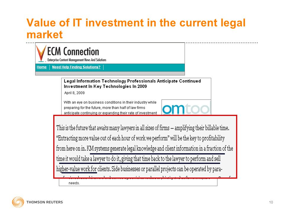 Value of IT investment in the current legal market 10