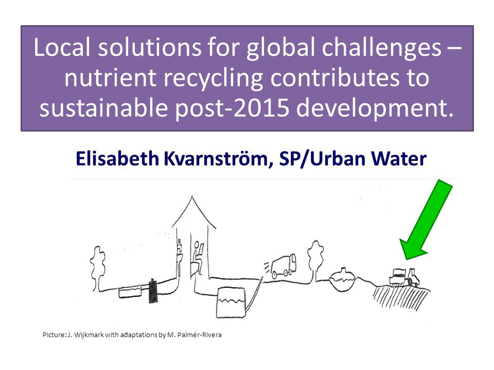 Elisabeth Kvarnström, SP/Urban Water Local solutions for global challenges – nutrient recycling contributes to sustainable post-2015 development.