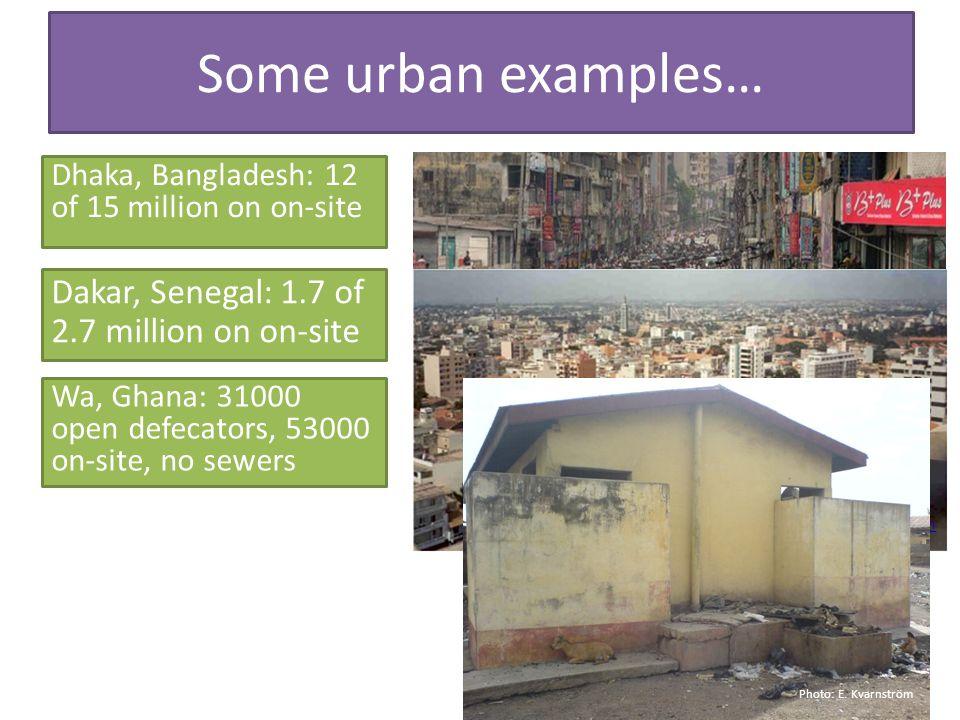 Some urban examples… Dhaka, Bangladesh: 12 of 15 million on on-site https://www.flickr.com/photos/joiseyshowaa/2402764792/ Dakar, Senegal: 1.7 of 2.7 million on on-site Wa, Ghana: 31000 open defecators, 53000 on-site, no sewers http://commonground191.com/journal/senegal.htm Photo: E.