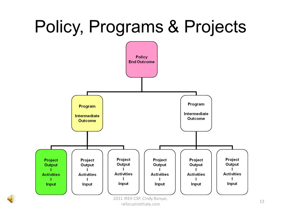 In general… Policies focus on large, long-term societal goals (end outcomes) Programs focus on target groups to meet policy goals – includes short and