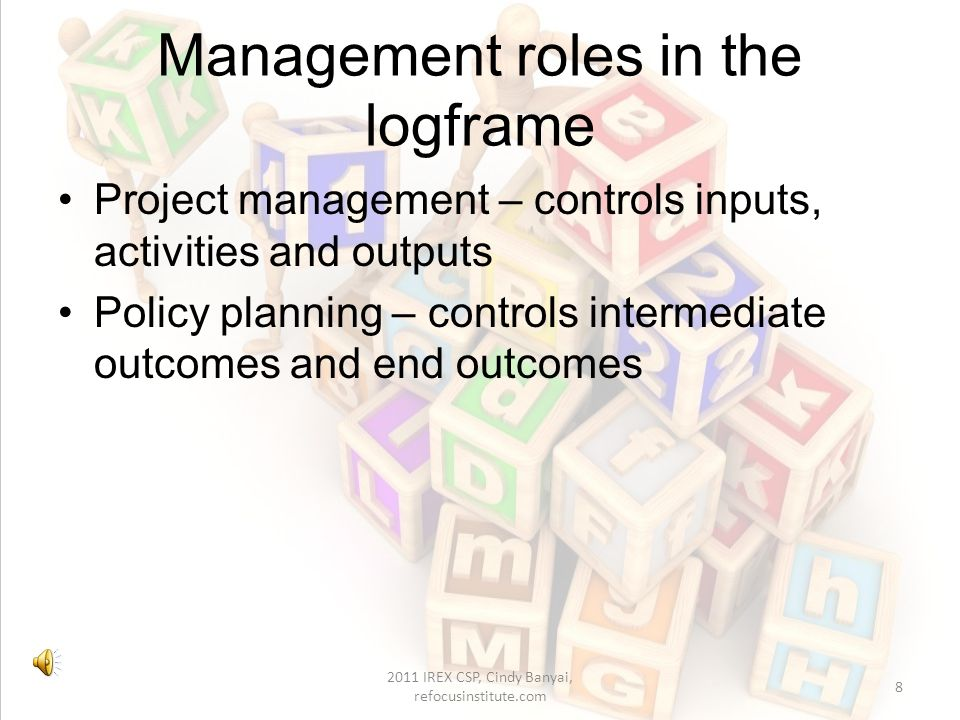 Project Management Cycle (PMC) 18 Based on Miyoshi, 2008 2011 IREX CSP, Cindy Banyai, refocusinstitute.com