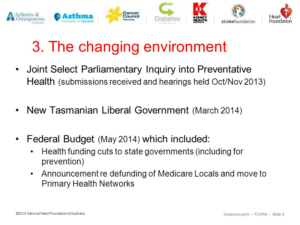 ©2014 National Heart Foundation of Australia Graeme Lynch – TCDPA – Slide 8 3.