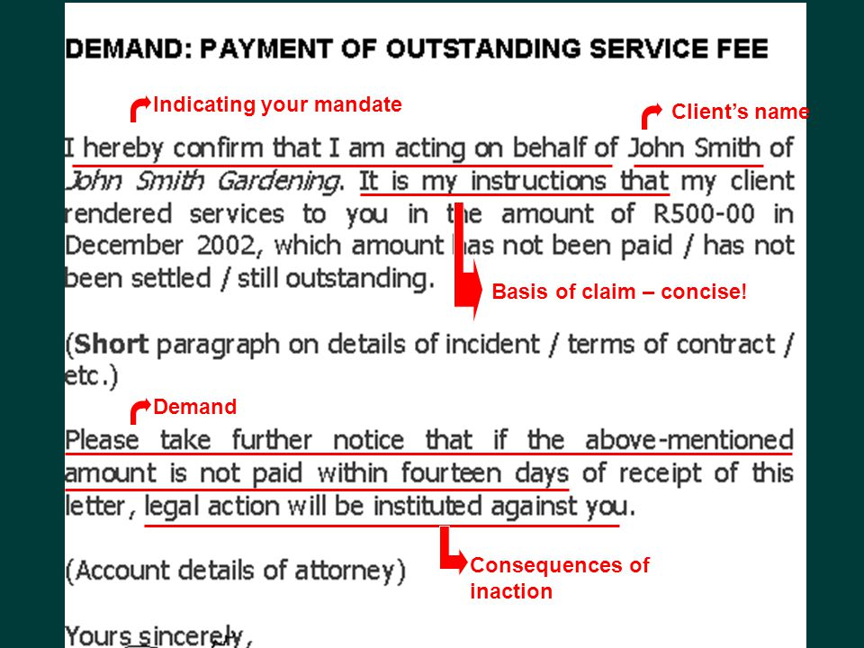Indicating your mandate Client's name Basis of claim – concise! Demand Consequences of inaction