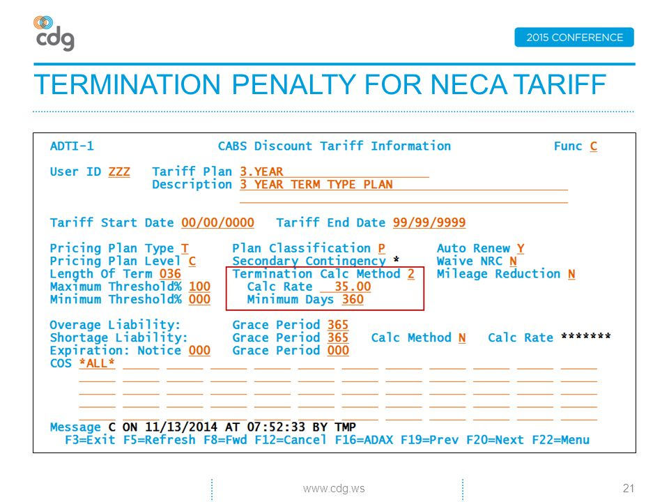 TERMINATION PENALTY FOR NECA TARIFF 21www.cdg.ws