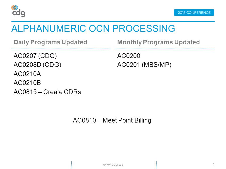 ALPHANUMERIC OCN PROCESSING Daily Programs Updated AC0207 (CDG) AC0208D (CDG) AC0210A AC0210B AC0815 – Create CDRs Monthly Programs Updated AC0200 AC0201 (MBS/MP) www.cdg.ws4 AC0810 – Meet Point Billing