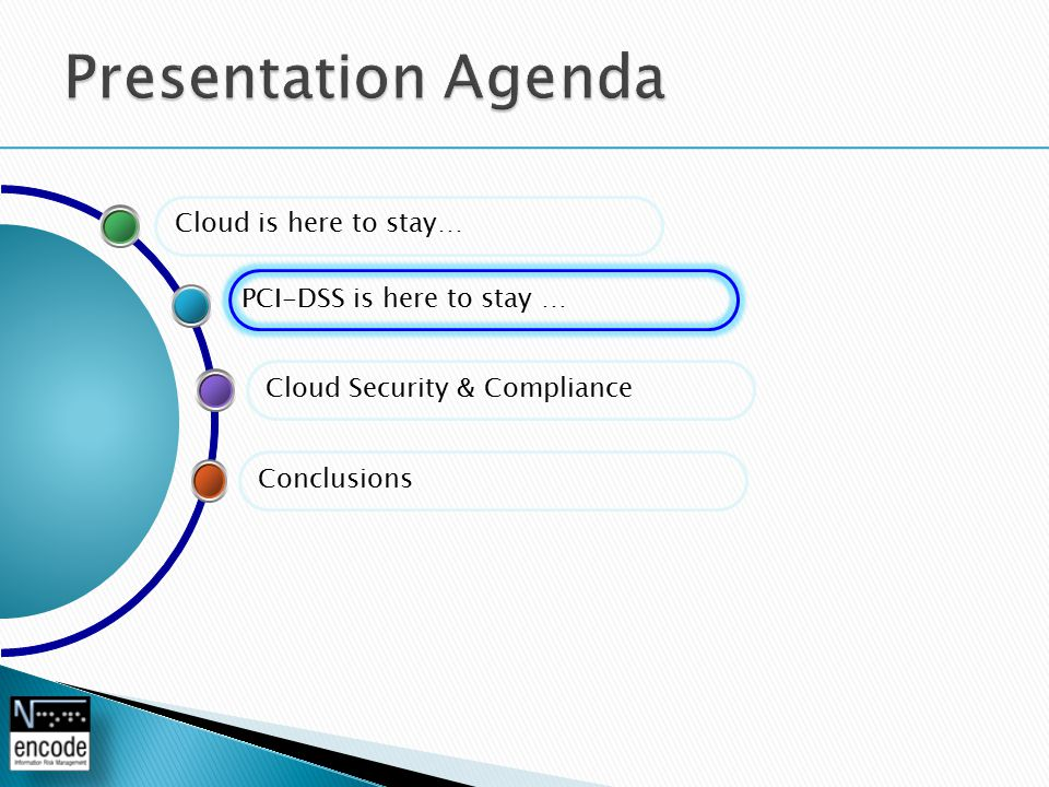 Cloud Security & Compliance PCI-DSS is here to stay … Conclusions Cloud is here to stay…