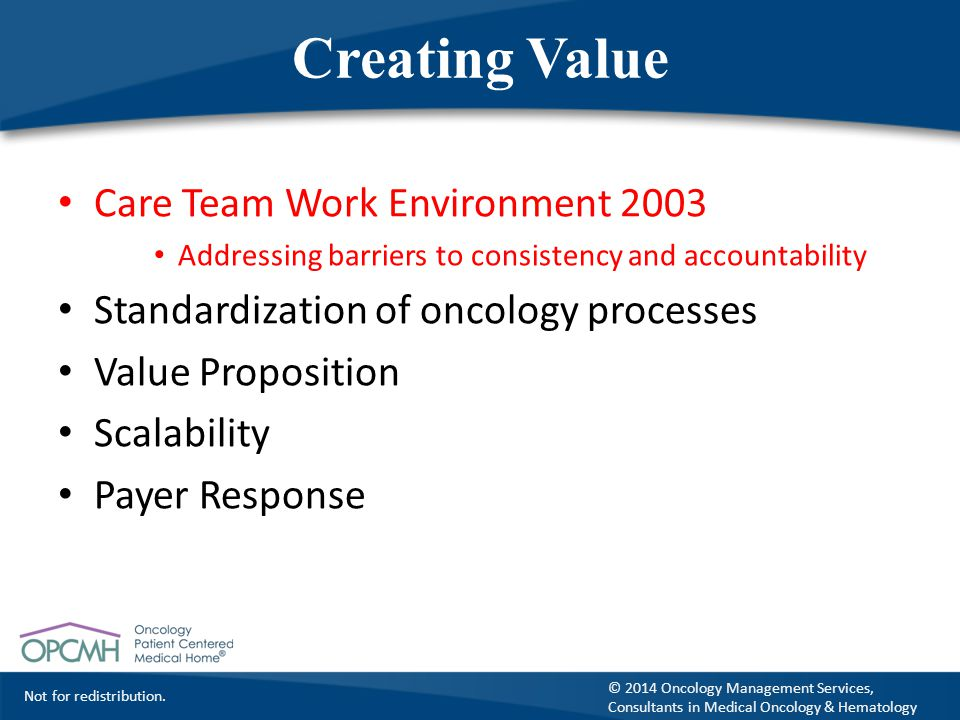Not for redistribution. © 2014 Oncology Management Services, Consultants in Medical Oncology & Hematology Creating Value Care Team Work Environment 20