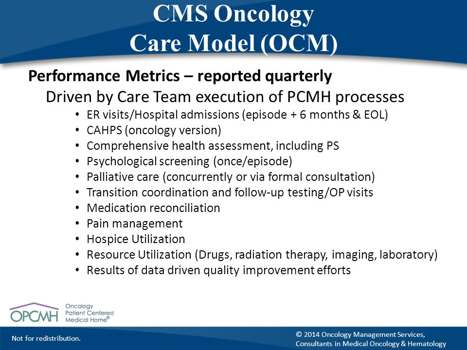 Not for redistribution. © 2014 Oncology Management Services, Consultants in Medical Oncology & Hematology CMS Oncology Care Model (OCM) Performance Me