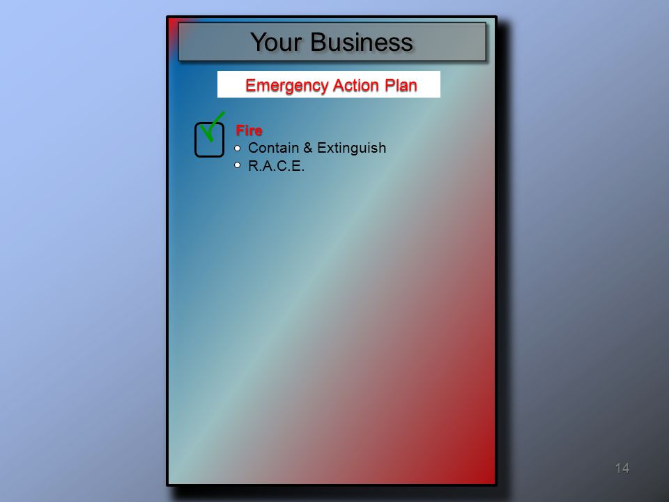 Evacuation procedures and other emergency escape route assignments Procedures to account for all employees after an emergency evacuation has been completed Emergency Action Plan Emergency Action Plan 14 Your Business Fire Contain & Extinguish R.A.C.E.