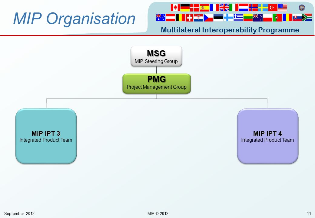 Multilateral Interoperability Programme September 2012MIP © 201211 MIP OrganisationMSG MIP Steering GroupMSG PMG Project Management Group MIP IPT 4 In