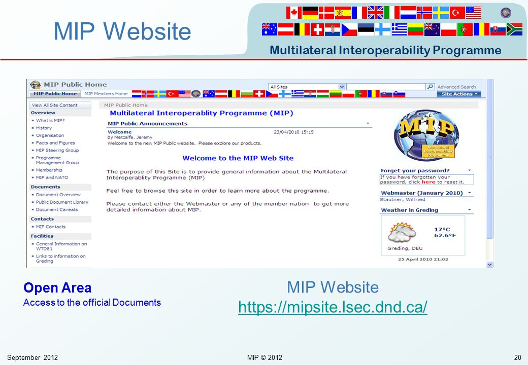 Multilateral Interoperability Programme September 2012MIP © 201220 MIP Website https://mipsite.lsec.dnd.ca/ https://mipsite.lsec.dnd.ca/ Open Area Acc