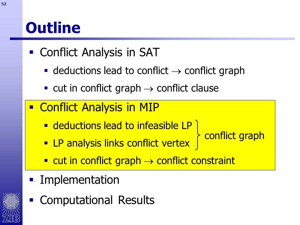 52 Outline  Conflict Analysis in SAT  deductions lead to conflict  conflict graph  cut in conflict graph  conflict clause  Conflict Analysis in MIP  deductions lead to infeasible LP  LP analysis links conflict vertex  cut in conflict graph  conflict constraint  Implementation  Computational Results conflict graph