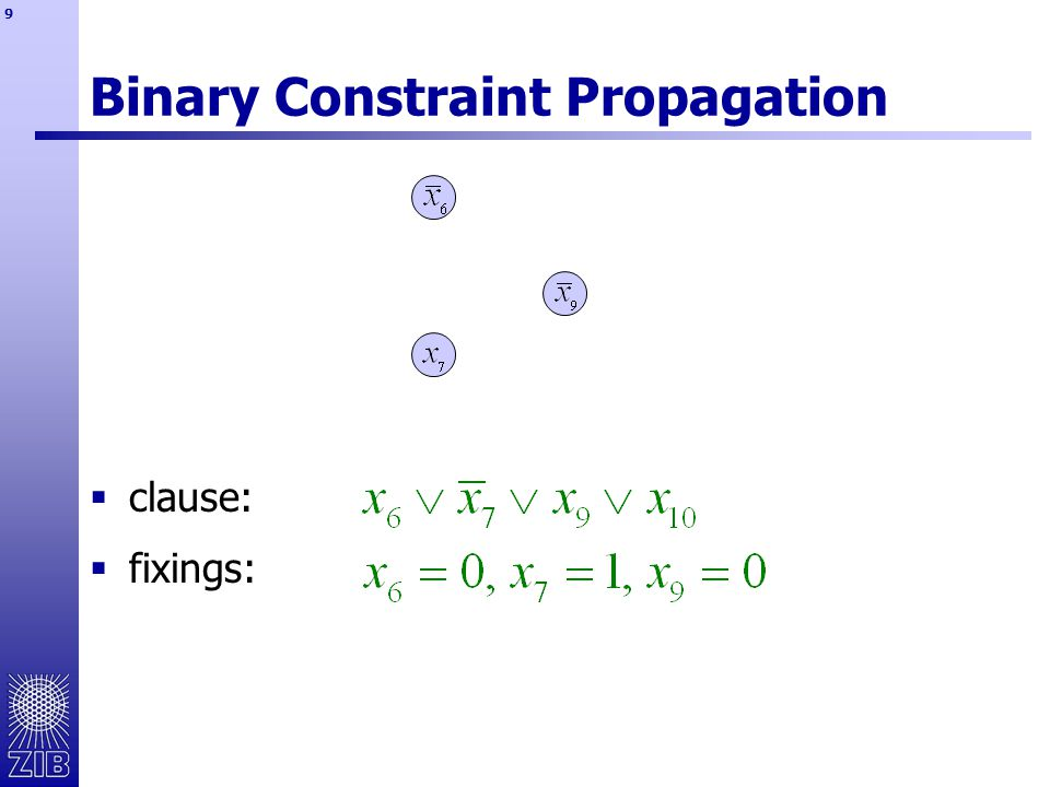 10 Binary Constraint Propagation  clause:  fixings:  deduction: