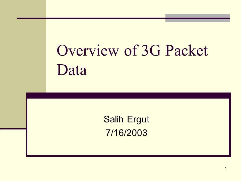 1 Overview of 3G Packet Data Salih Ergut 7/16/2003