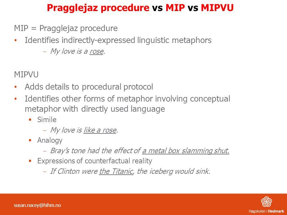 Pragglejaz procedure vs MIP vs MIPVU MIP = Pragglejaz procedure Identifies indirectly-expressed linguistic metaphors ‒ My love is a rose.