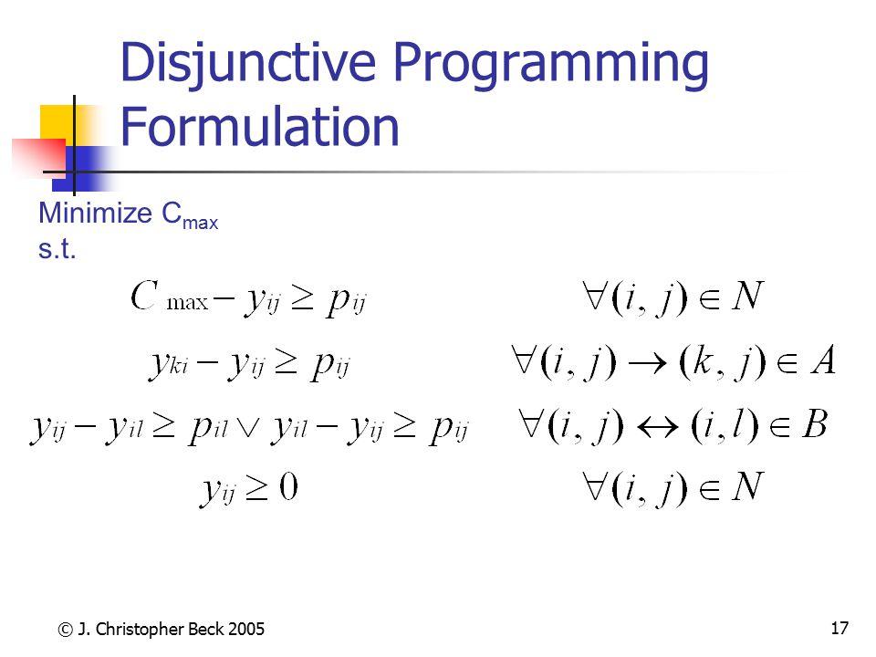© J.Christopher Beck 2005 18 Disjunctive Programming Formulation Minimize C max s.t.