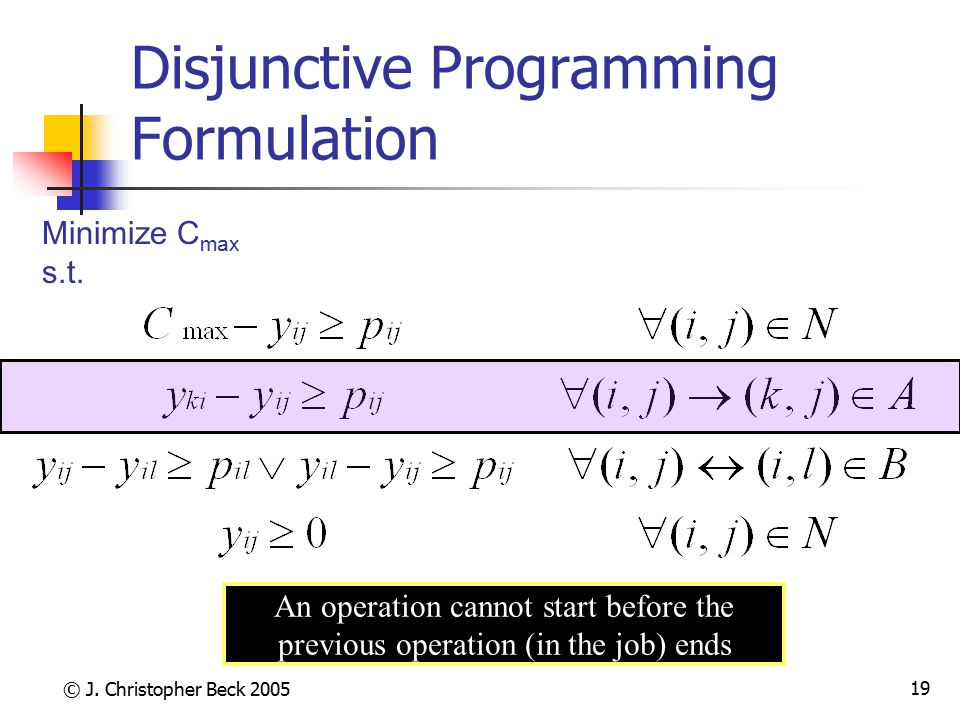 © J. Christopher Beck 2005 19 Disjunctive Programming Formulation Minimize C max s.t. An operation cannot start before the previous operation (in the