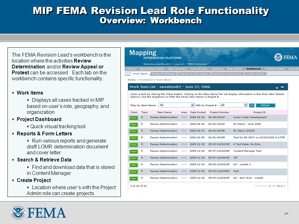 The FEMA Revision Lead's workbench is the location where the activities Review Determination and/or Review Appeal or Protest can be accessed.