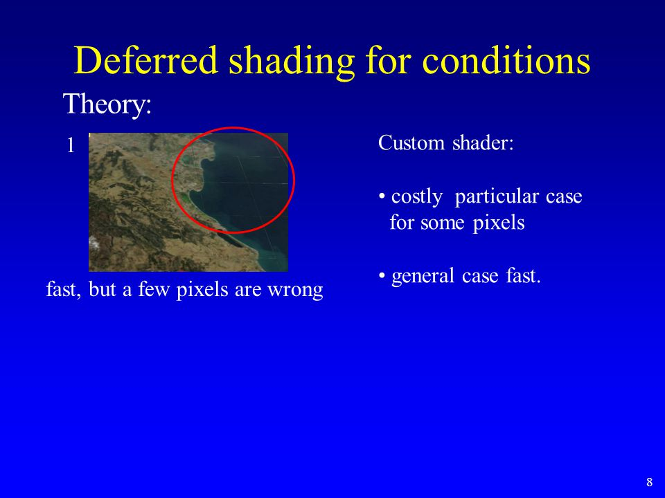 8 Deferred shading for conditions fast, but a few pixels are wrong 1 Theory: Custom shader: costly particular case for some pixels general case fast.