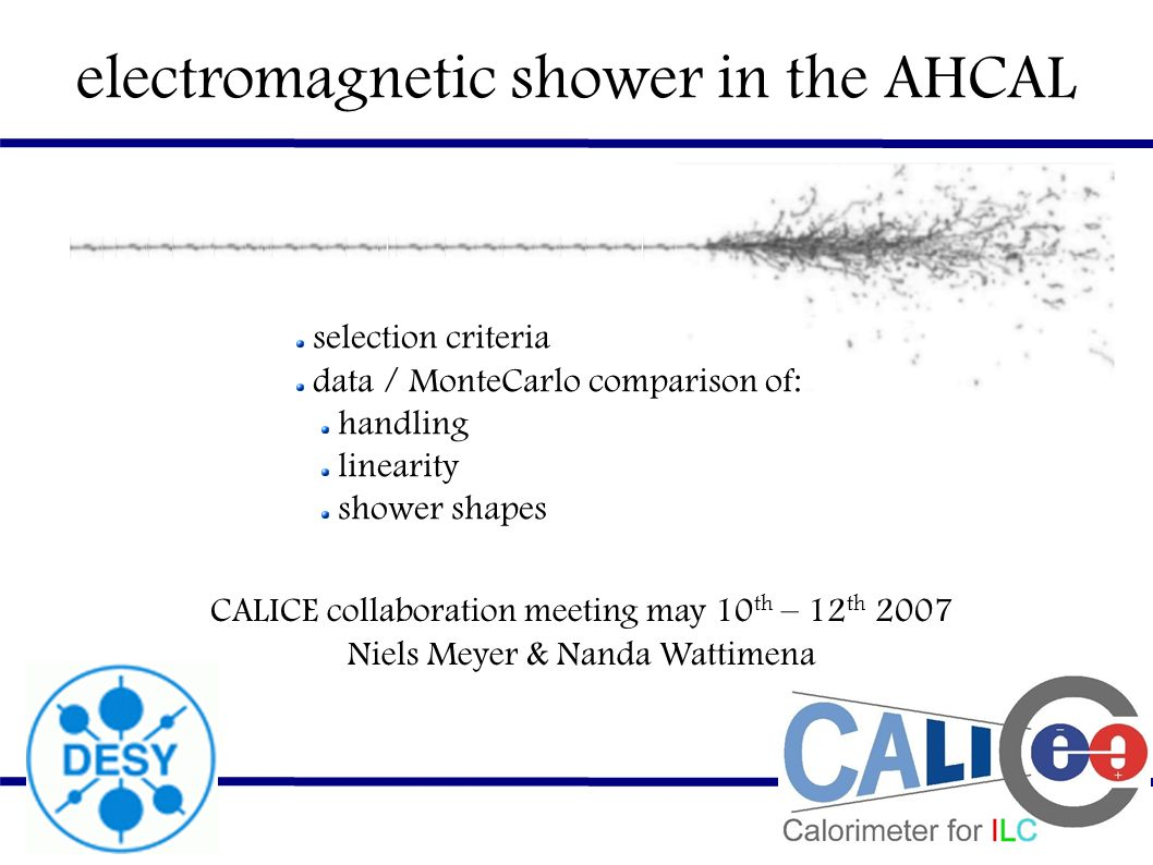 electromagnetic shower in the AHCAL selection criteria data / MonteCarlo comparison of: handling linearity shower shapes CALICE collaboration meeting