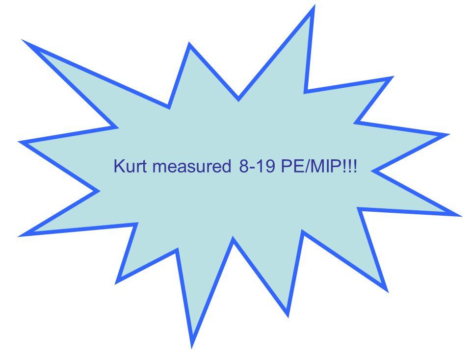 Kurt measured 8-19 PE/MIP!!!