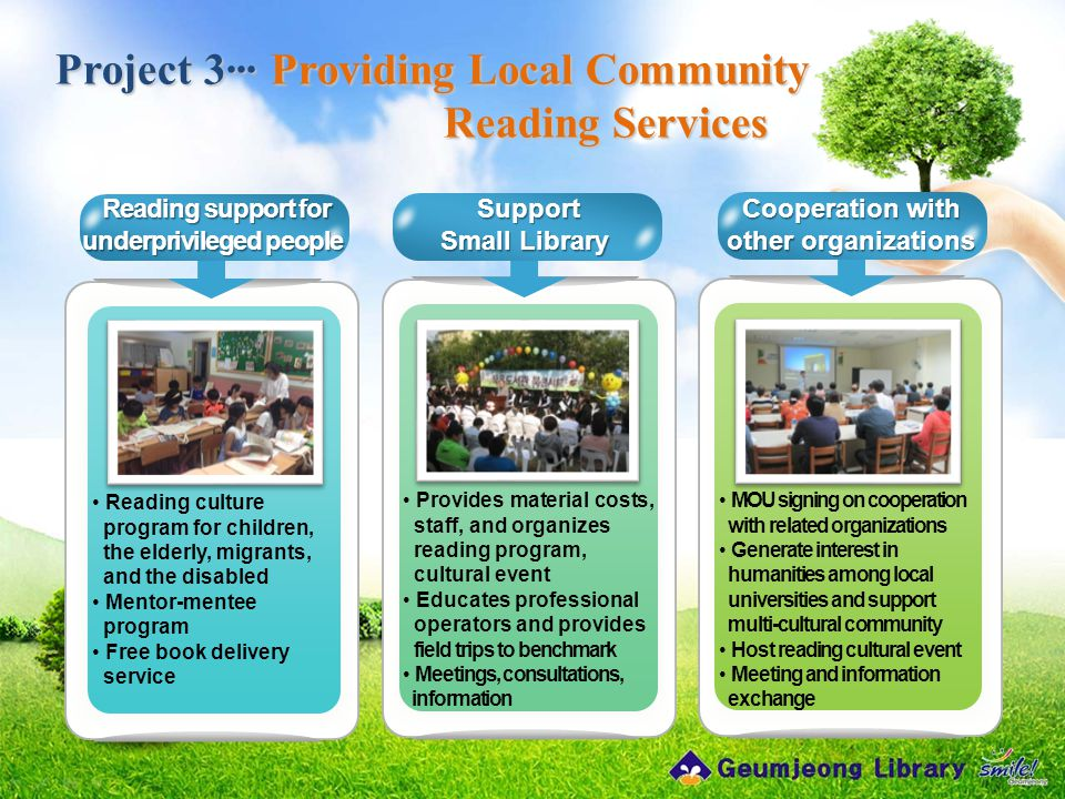 Project 3··· Providing Local Community Reading Services Reading culture program for children, the elderly, migrants, and the disabled Mentor-mentee program Free book delivery service Provides material costs, staff, and organizes reading program, cultural event Educates professional operators and provides field trips to benchmark Meetings, consultations, information Reading support for underprivileged people Reading support for underprivileged people MOU signing on cooperation with related organizations Generate interest in humanities among local universities and support multi-cultural community Host reading cultural event Meeting and information exchange Support Support Small Library Cooperation with other organizations