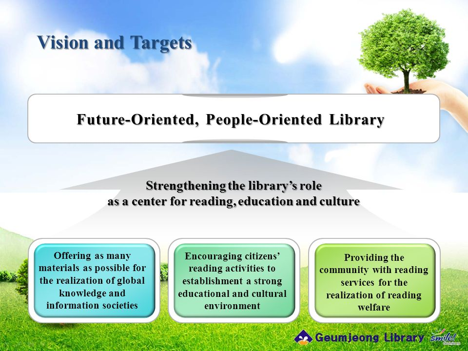 Vision and Targets Offering as many materials as possible for the realization of global knowledge and information societies Encouraging citizens' read