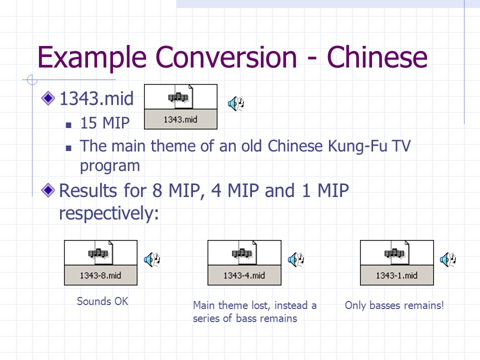Example Conversion - Chinese 1343.mid 15 MIP The main theme of an old Chinese Kung-Fu TV program Results for 8 MIP, 4 MIP and 1 MIP respectively: Main theme lost, instead a series of bass remains Sounds OK Only basses remains!
