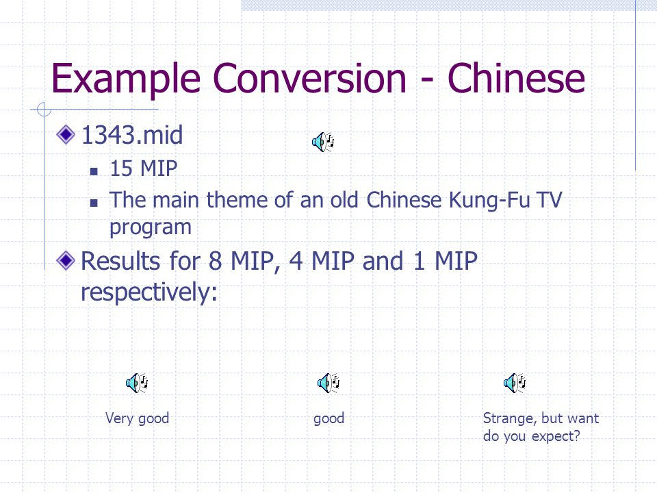 Example Conversion - Chinese 1343.mid 15 MIP The main theme of an old Chinese Kung-Fu TV program Results for 8 MIP, 4 MIP and 1 MIP respectively: goodVery goodStrange, but want do you expect?