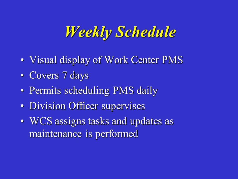 Weekly Schedule Visual display of Work Center PMSVisual display of Work Center PMS Covers 7 daysCovers 7 days Permits scheduling PMS dailyPermits sche
